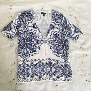 Talbots Short Sleeve Blue/White Cardigan size 0P